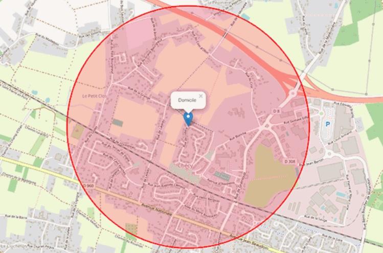 COVID-19 : Carte de votre zone de sortie