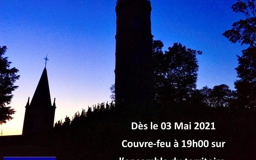 COVID-19 : Couvre-feu à 19h00 à partir du 03/05/2021