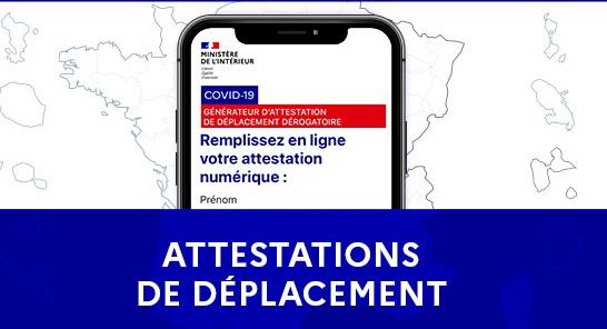 COVID-19 : Attestation de déplacement à compter du 03/04/2021