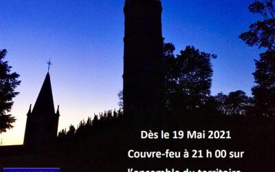 COVID-19 : COUVRE FEU A 21 H 00 A PARTIR DU 19 MAI 2021