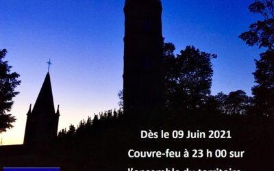 COVID-19 : Couvre-feu à 23h00 à partir du 09/06/2021