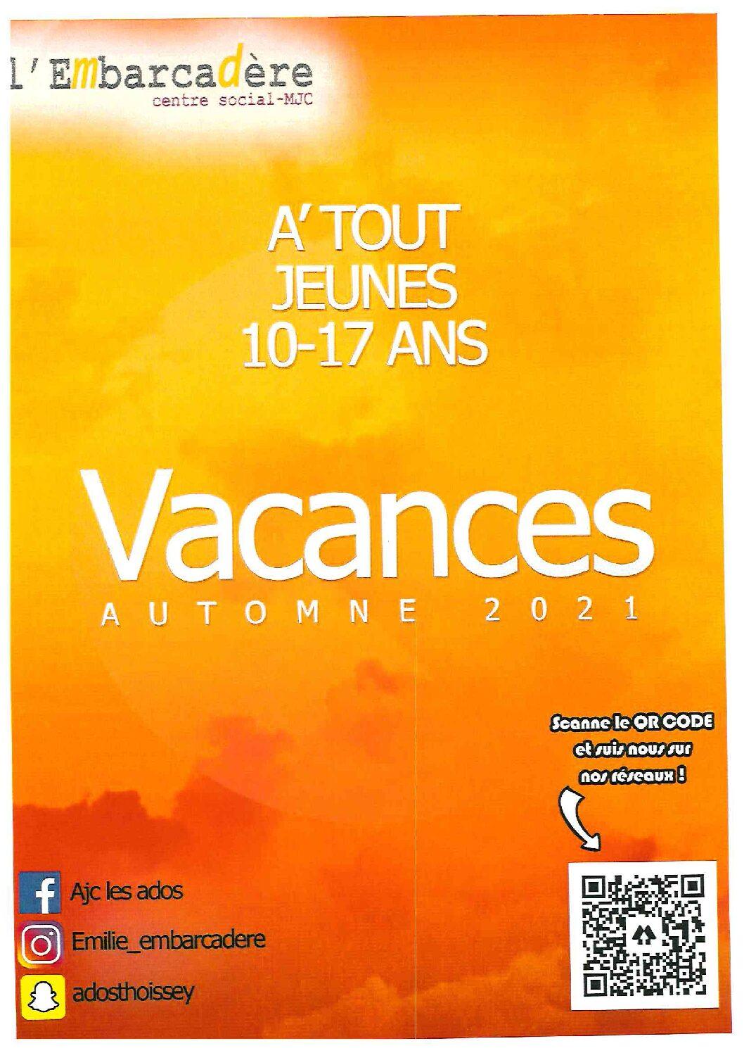 A'TOUT JEUNES 10/17 ANS – Vacances d'Automne 2021